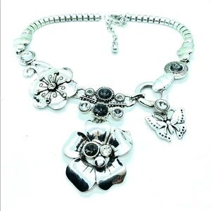 Metal Art & Crystal Statement Necklace